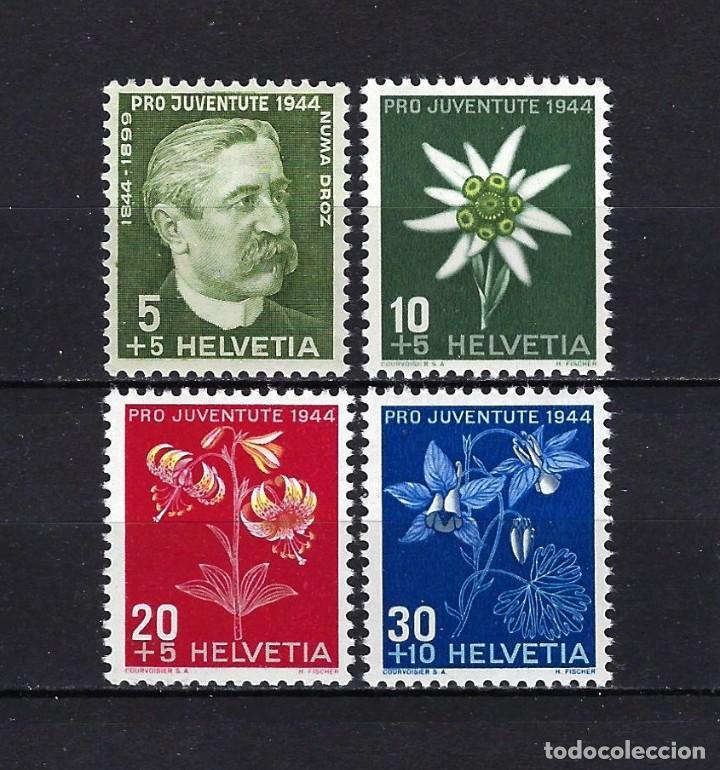 1944 SUIZA MICHEL 439/442 YVERT 399/402 FLORA, PRO JUVENTUD, NUMA DROZ MNH** NUEVOS SIN FIJASELLOS (Sellos - Extranjero - Europa - Suiza)