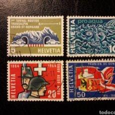Sellos: SUIZA YVERT 726/9 SERIE COMPLETA USADA 1964 TÚNEL, AGUA, SOLDADOS, BANDERAS. PEDIDO MÍNIMO 3€. Lote 270986868