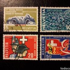 Sellos: SUIZA YVERT 726/9 SERIE COMPLETA USADA 1964 TÚNEL, AGUA, SOLDADOS, BANDERAS. PEDIDO MÍNIMO 3€. Lote 270986883
