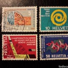 Sellos: SUIZA YVERT 673/6 SERIE COMPLETA USADA 1961 ANIVERSARIOS. PEDIDO MÍNIMO 3€. Lote 270986888