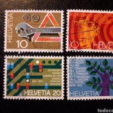 Sellos: SUIZA YVERT 895/8 SERIE COMPLETA USADA 1972 RADIO, FERROCARRILES, AYUDA CARRETERA, PEDIDO MÍNIMO 3€. Lote 271406553