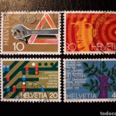 Sellos: SUIZA YVERT 895/8 SERIE COMPLETA USADA 1972 RADIO, FERROCARRILES, AYUDA CARRETERA, PEDIDO MÍNIMO 3€. Lote 271407308