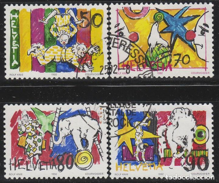 SUIZA IVERT 1406/8, EL MUNDO DEL CIRCO, USADO, SERIE COMLLETA (Sellos - Extranjero - Europa - Suiza)