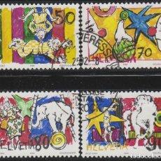 Sellos: SUIZA IVERT 1406/8, EL MUNDO DEL CIRCO, USADO, SERIE COMLLETA. Lote 277711178