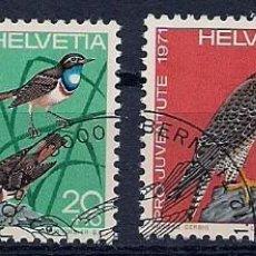 Sellos: SUIZA - 1971 - SERIE PRO JUVENTUTE / PRO JOVENTUD - COMPLETA - AVES - MATASELLADOS CON GOMA. Lote 278280638