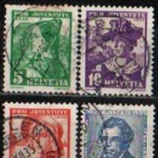 Sellos: SUIZA EDIFIL Nº 282/5 (AÑO 1935), PRO JUVENTUTEM POR LA JUVENTUD, USADO, SERIE COMPLETA. Lote 288185318