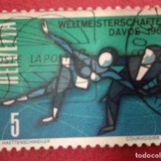 Sellos: SUIZA 1965. CAMPEONATO DEL MUNDO DE PATINAJE ARTÍSTICO SOBRE HIELO. MI:CH 822,. Lote 288197308