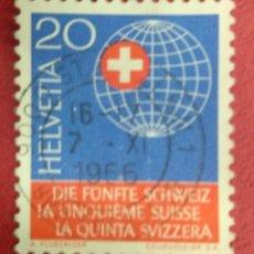 Sellos: SUIZA 1966. SUIZA EN EL EXTRANJERO. MI:CH 841,. Lote 288200353