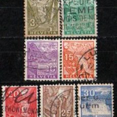 Sellos: SUIZA EDIFIL Nº 271/7 (AÑO 1934), PAISAJES USADO, SERIE COMPLETA. Lote 288202098