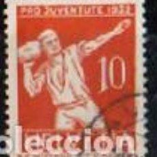 Sellos: SUIZA EDIFIL Nº 264 (AÑO 1932), LANZAMIENTO DE PIEDRA, DEPORTE POPULAR, USADO. Lote 288202563