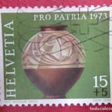 Sellos: SUIZA 1973. JARRA GALO (ERA CELTA TARDÍA). MI:CH 996,. Lote 288214798