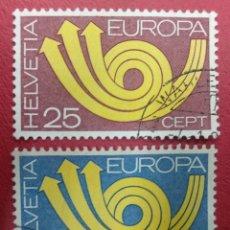 Sellos: SUIZA 1973. EUROPA (C.E.P.T.) 1973 - POSTHORN. MI:CH 994-5. Lote 288218363