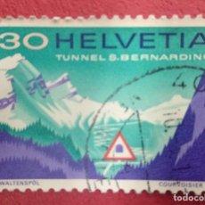 Sellos: SUIZA 1967. SEÑAL DE CARRETERA DEL TÚNEL EN FRENTE DE LA CARRETERA DE SAN BERNARDO. MI:CH 860,. Lote 288223053