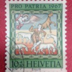 Sellos: SUIZA 1967. PROCLAMACIÓN A LOS PASTORES. MI:CH 854,. Lote 288224093