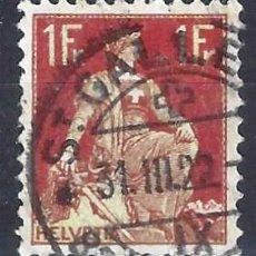 Sellos: SUIZA 1908 - HELVETIA, 1 FR. CARMÍN MARRÓN - USADO. Lote 288462083