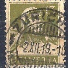 Sellos: SUIZA 1915-18 - GUILLERMO TELL, 13 OLIVA GRISÁCEO, NUEVOS VALORES - USADO. Lote 288462613