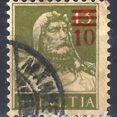 Sellos: SUIZA 1921 - GUILLERMO TELL, SOBRECARGADO 10 SOBRE 13 - USADO. Lote 288462883