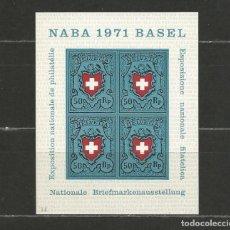 """Sellos: SUIZA. IVERT HB 21**. AÑO 1971. """"NABA"""" EXPO. FILATÉLICA DE BASILEA. NUEVO SIN FIJASELLOS.. Lote 293906673"""