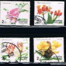Sellos: TAILANDIA - LOTE DE 4 SELLOS - FLORES (USADO) LOTE 4. Lote 103217055