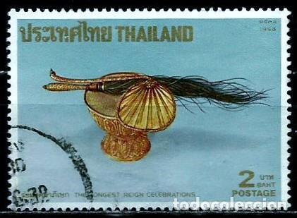 TAILANDIA SCOTT: 1257-(1988) (ABANICO Y AVIADOR DE PLUMAS) USADO (Sellos - Extranjero - Asia - Tailandia)