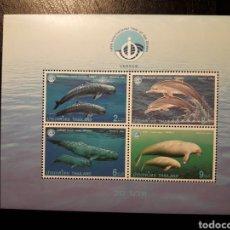 Sellos: TAILANDIA. YVERT HB-108 SERIE COMPLETA NUEVA SIN CHARNELA. FAUNA. MAMÍFEROS MARINOS. Lote 179560191