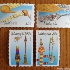 Sellos: MALASIA, N°351/54 MNH,INSTRUMENTOS MUSICALES 1987 (FOTOGRAFÍA REAL). Lote 199589508