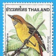 Sellos: TAILANDIA. 1980. PAJAROS. MINLA COLICASTAÑA. Lote 223806000