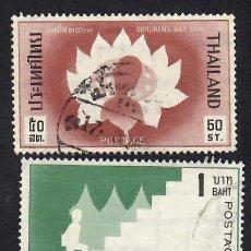 Selos: TAILANDIA (1966). DÍA DE LA INFANCIA. YVERT 429-430. SERIE COMPLETA USADA.. Lote 293844378