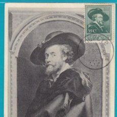 Sellos: TARJETA MAXIMA BELGICA PETRUS PAULUS RUBENS (PIERRE - PAUL), CIRCULADA EL AÑO 1954. Lote 34403924