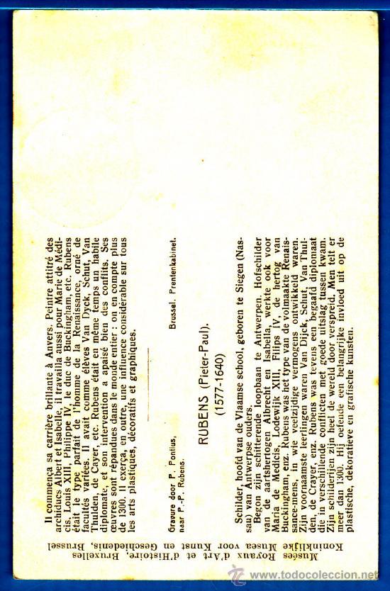 Sellos: TARJETA MAXIMA BELGICA PETRUS PAULUS RUBENS (PIERRE - PAUL), CIRCULADA EL AÑO 1954 - Foto 2 - 34403924