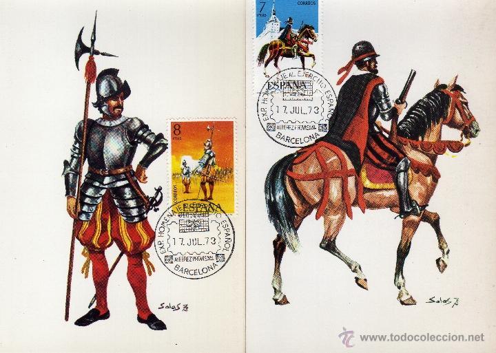 Sellos: AÑO 1973. I GRUPO UNIFORMES MILITARES. MATASELLOS ESPECIAL HOMENAJE AL EJERCITO ESPAÑOL. PRIMER DIA - Foto 2 - 40335007