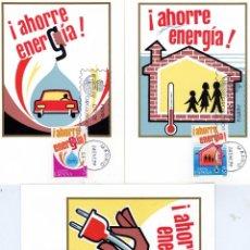 Sellos: AÑO 1979. AHORRE ENERGIA. 3 TARJETAS MAXIMAS. MATASELLO PRIMER DIA. Lote 40337104