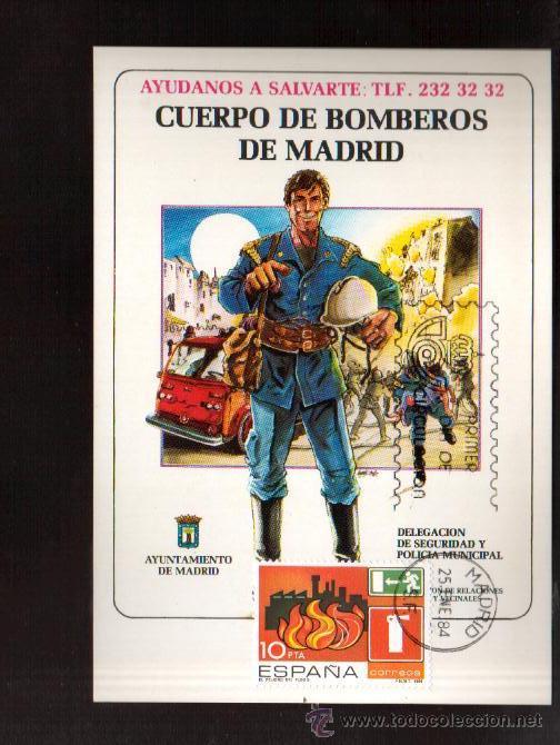 TARJETA .- CUERPO DE BOMBEROS DE MADRID MATASELLOS MADRID VER FOTO QUE NO TE FALTE EN TU COLECCION (Sellos - España - Tarjetas Máximas )