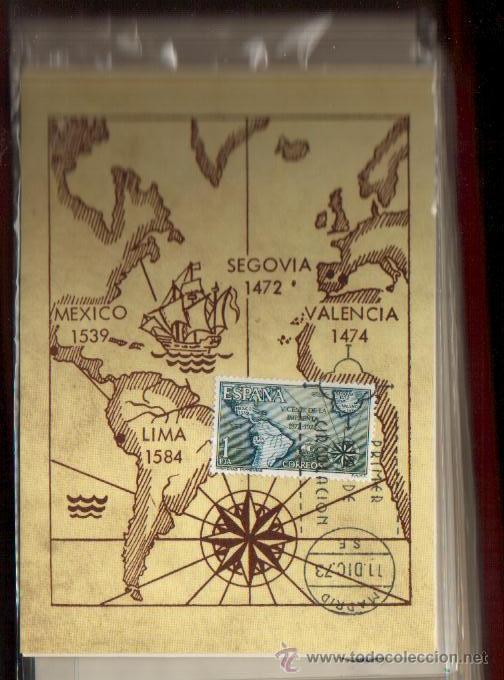 Sellos: TARJETA V CENTENARIO DE LA IMPRENTA, 1973, COMPLETA 3 TARJETAS PRIMER DIA MADRID... VER FOTOS - Foto 3 - 50492811