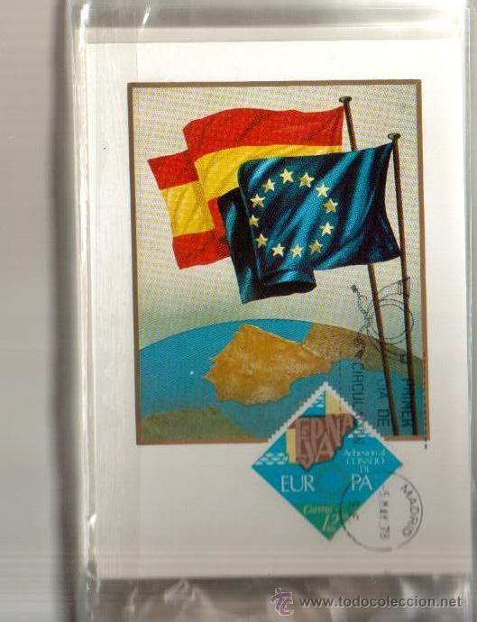 TARJETA ADHESION DE ESPAÑA AL CONSEJO DE EUROPA AÑO 1978 PRIMER DIA MADRID VER FOTO QUE NO TE FALTE (Sellos - España - Tarjetas Máximas )