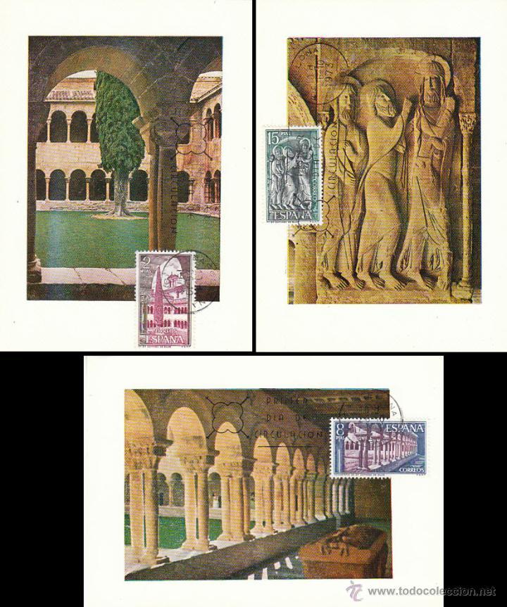 EDIFIL 2159/61, MONASTERIO DE SILOS (BURGOS), TARJETA MAXIMA DE PRIMER DIA 26-10-1973 SERIE COMPLETA (Sellos - España - Tarjetas Máximas )