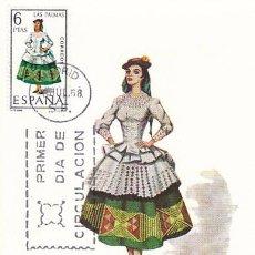 Sellos: EDIFIL 1845, TRAJE REGIONAL DE LAS PALMAS DE GRAN CANARIA, TARJETA MAXIMA DE PRIMER DIA DEL AÑO 1968. Lote 141651396
