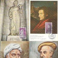 Sellos: EDIFIL 1791/4, PERSONAJES: AVERROES, MAIMONIDES,..., TARJETA MAXIMA DE PRIMER DIA DE 6-4-1967 SERIE. Lote 55777213