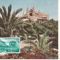 Sellos: EDIFIL 1789, CONFERENCIA INTERPARLAMENTARIA EN PALMA DE MALLORCA, CATEDRAL TARJETA MAXIMA 28-3-1967. Lote 55777334