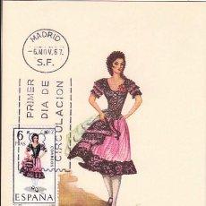 Sellos: EDIFIL 1777, TRAJE REGIONAL DE CADIZ, TARJETA MAXIMA DE PRIMER DIA DEL AÑO 1967. Lote 55845280
