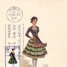 Sellos: EDIFIL 1775, TRAJE REGIONAL DE BURGOS, TARJETA MAXIMA DE PRIMER DIA DEL AÑO 1967. Lote 55845837