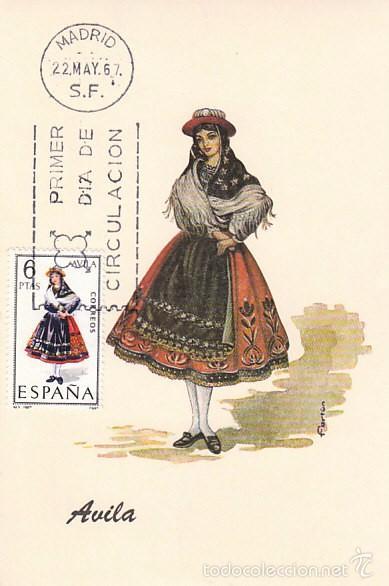EDIFIL 1771, TRAJE REGIONAL DE AVILA, TARJETA MAXIMA DE PRIMER DIA DEL AÑO 1967 (Sellos - España - Tarjetas Máximas )