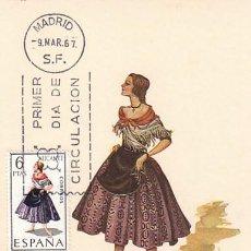 Sellos: EDIFIL 1769, TRAJE REGIONAL DE ALICANTE, TARJETA MAXIMA DE PRIMER DIA DEL AÑO 1967. Lote 55848005