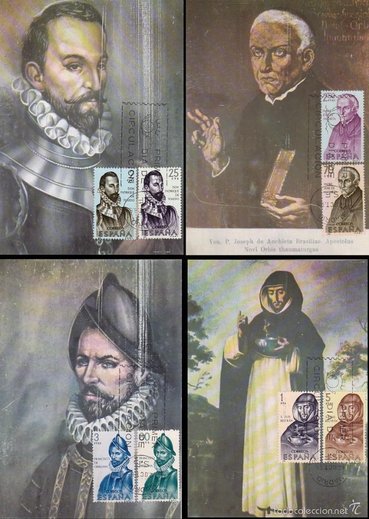 EDIFIL Nº 1678/85, FORJADORES AMERICA, TARJETA MAXIMA PRIMER DIA DE 12-10-1965 SERIE COMPLETA (Sellos - España - Tarjetas Máximas )