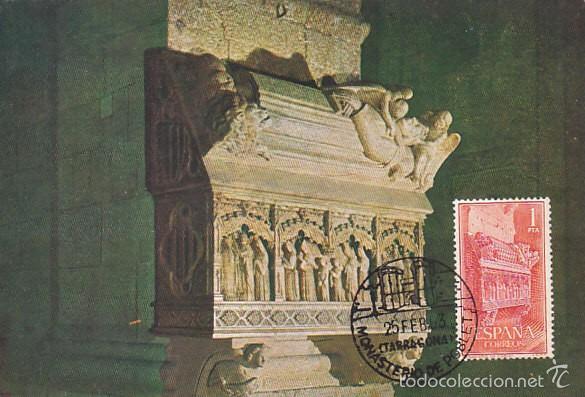 EDIFIL 1495, MONASTERIO DE POBLET, TARJETA MÁXIMA MATASELLO DEL MONASTERIO DE 25-2-1963 (Sellos - España - Tarjetas Máximas )