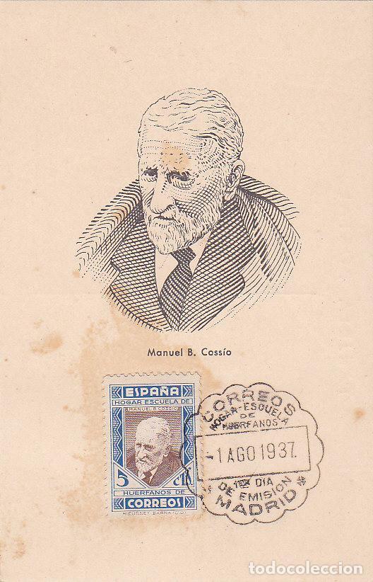 BENEFICENCIA HUERFANOS DE CORREOS PEDAGOGOS 1937 MANUEL B COSSIO (EDIFIL 12) EN BONITA Y RARA TM PD (Sellos - España - Tarjetas Máximas )
