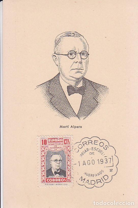 BENEFICENCIA HUERFANOS DE CORREOS PEDAGOGOS 1937 MARTI ALPERA (EDIFIL 13) EN BONITA Y RARA TM PD (Sellos - España - Tarjetas Máximas )