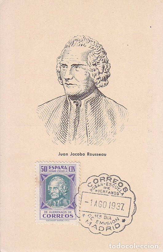 BENEFICENCIA HUERFANOS DE CORREOS PEDAGOGOS 1937 J JACOBO ROUSSEAU (EDIFIL 15) BONITA Y RARA TM PD (Sellos - España - Tarjetas Máximas )
