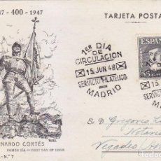 Francobolli: HERNAN CORTES PERSONAJES 1948 (EDIFIL 1035) EN TARJETA MAXIMA PRIMER DIA EDICIONES TOLEDO MOD 3.. Lote 68826741