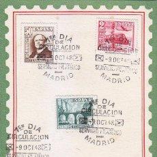 Sellos: TRENES CENTENARIO FERROCARRIL DIA DEL SELLO 1948 (EDIFIL 1037/39) EN RARA TARJETA MAXIMA PRIMER DIA.. Lote 68937645